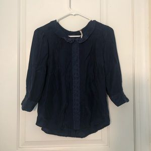 Free People Navy Lace Blouse